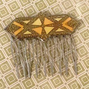 Accessories - Vintage Art Deco Style Enamel Hair Comb